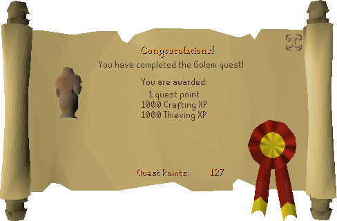 The Golem reward scroll