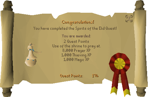 Spirits of the Elid reward scroll