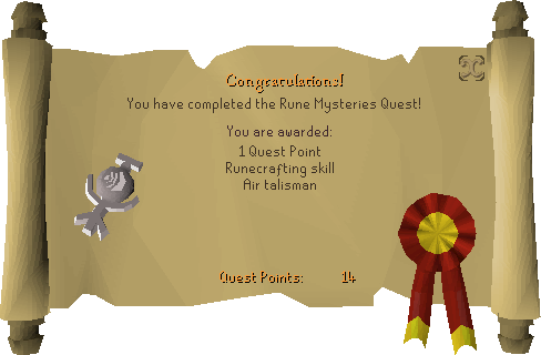 Rune Mysteries reward scroll