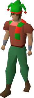 Tri-jester hat and scarf equipped
