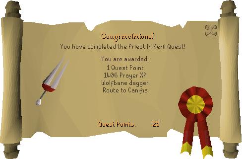 Priest in Peril reward scroll