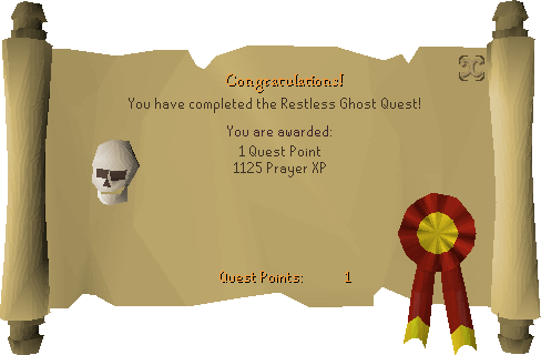 The Restless Ghost reward scroll