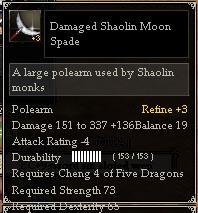 Damaged Shaolin Moon Spade