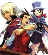 Objection!! magazine cover ft Apollo, Klavier, and Trucy