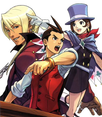 File:Objection!! magazine cover ft Apollo, Klavier, and Trucy.png