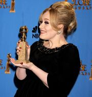 Adele with her Golden Globe