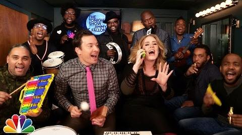 """Jimmy Fallon, Adele & The Roots Sing """"Hello"""" (w Classroom Instruments)"""