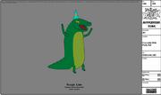 Modelsheet crocodile withpartyhat