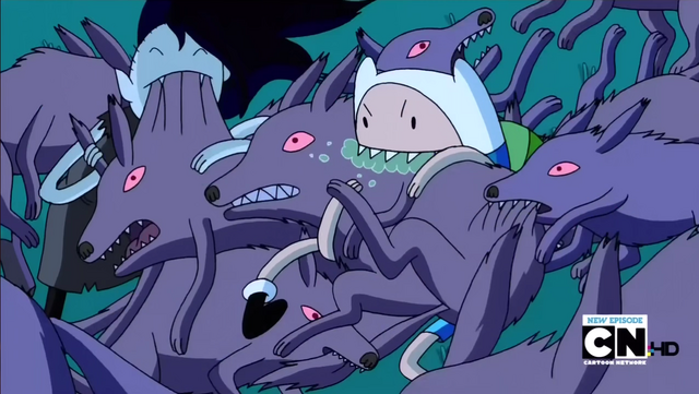 File:S2e20 finn and marceline biting wolves.png