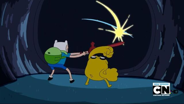 File:Finn and Jake busting the wall.jpg