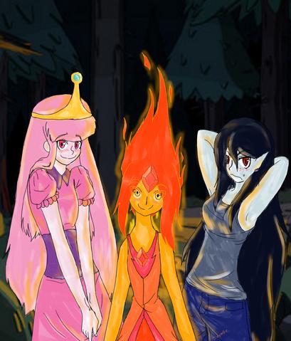 File:Princess Bubblegum, Flame Princess, Marceline Finished Version!!.png