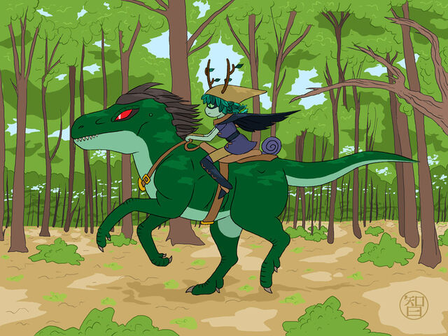 File:Huntress wizard riding a reptile horse by coldfusion -d5mo7sz.jpg