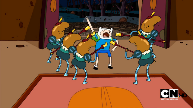File:S1 E22 The Nut Castle Gaurds gather around Finn.png