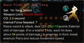 (Yin Yang Sword) Back From Yin And Yang (Description)