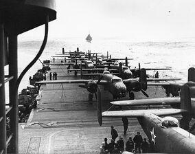 B-25 on the deck of USS Hornet during Doolittle Raid