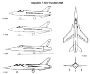 731px-Republic F-105 variants drawings