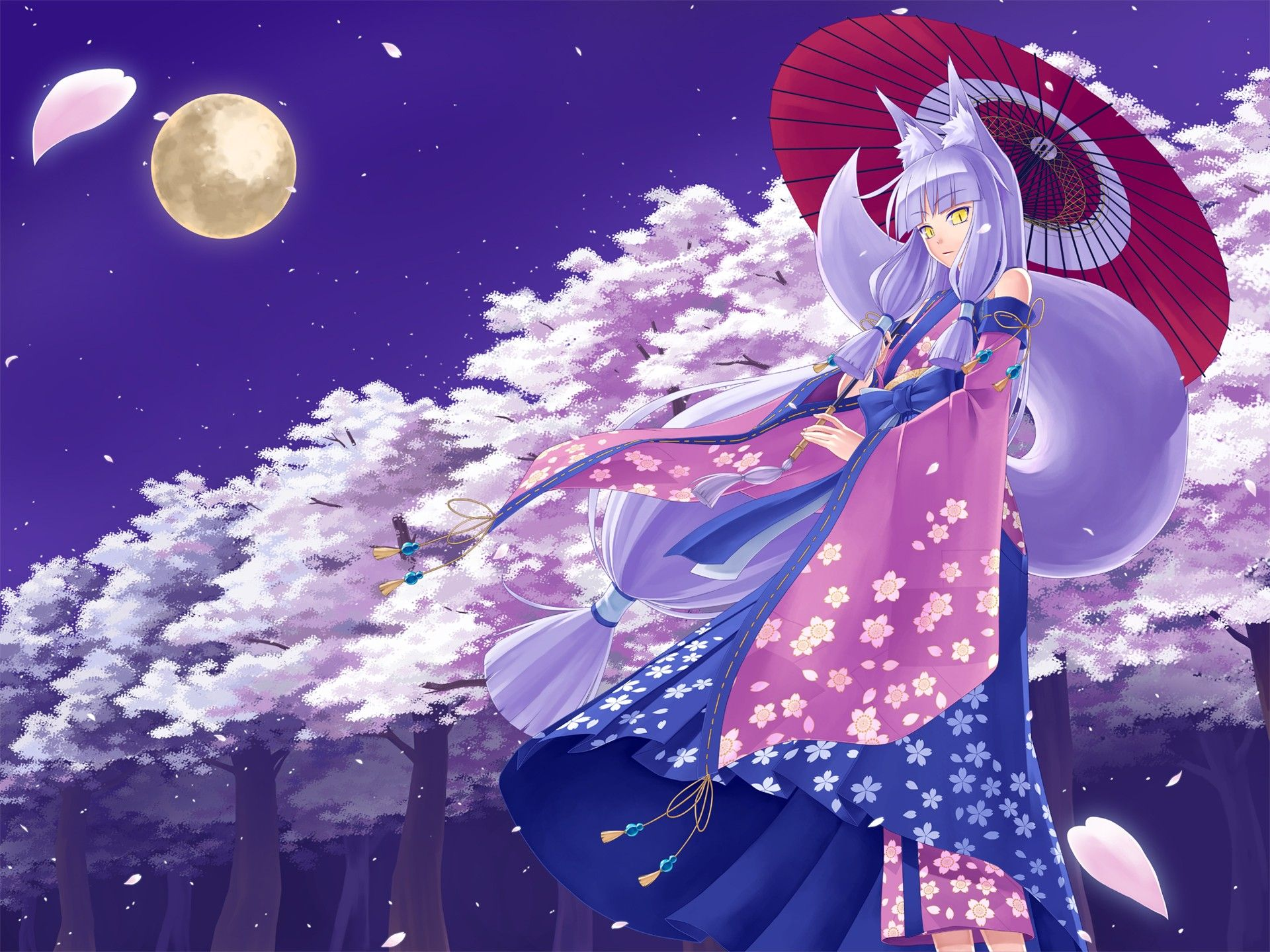 image   cherry blossoms moon kimono tail animal japanese