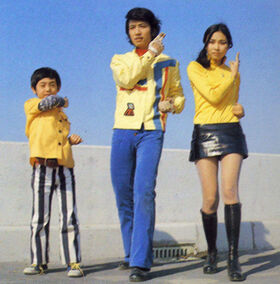 Hikaru, Hotaru and Akira in their human forms.
