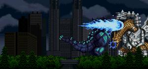 Super Godzilla uses his 'Super Punch' against Mecha-King Ghidorah