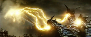 Keizer Ghidorah levitates Godzilla with its gravity beams.