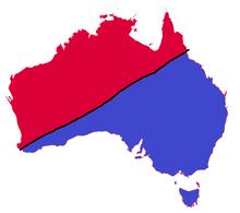 Australia map in 1954