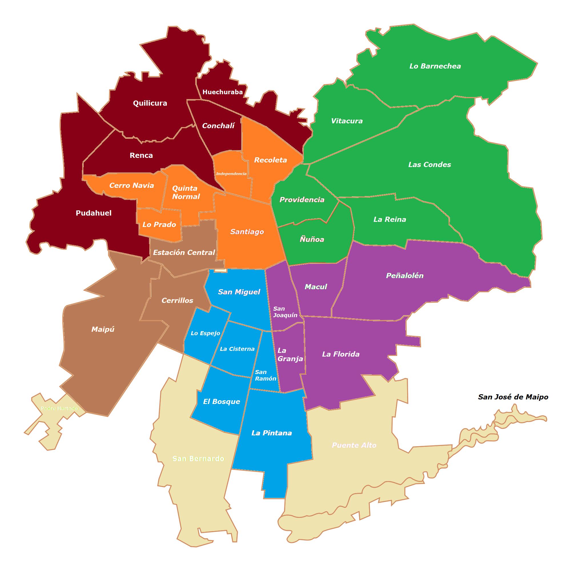 Mapa de santiago online map for Mapa de santiago de chile