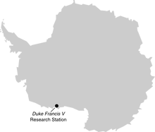 Location of Duke Francis V Research Station in Antarctica
