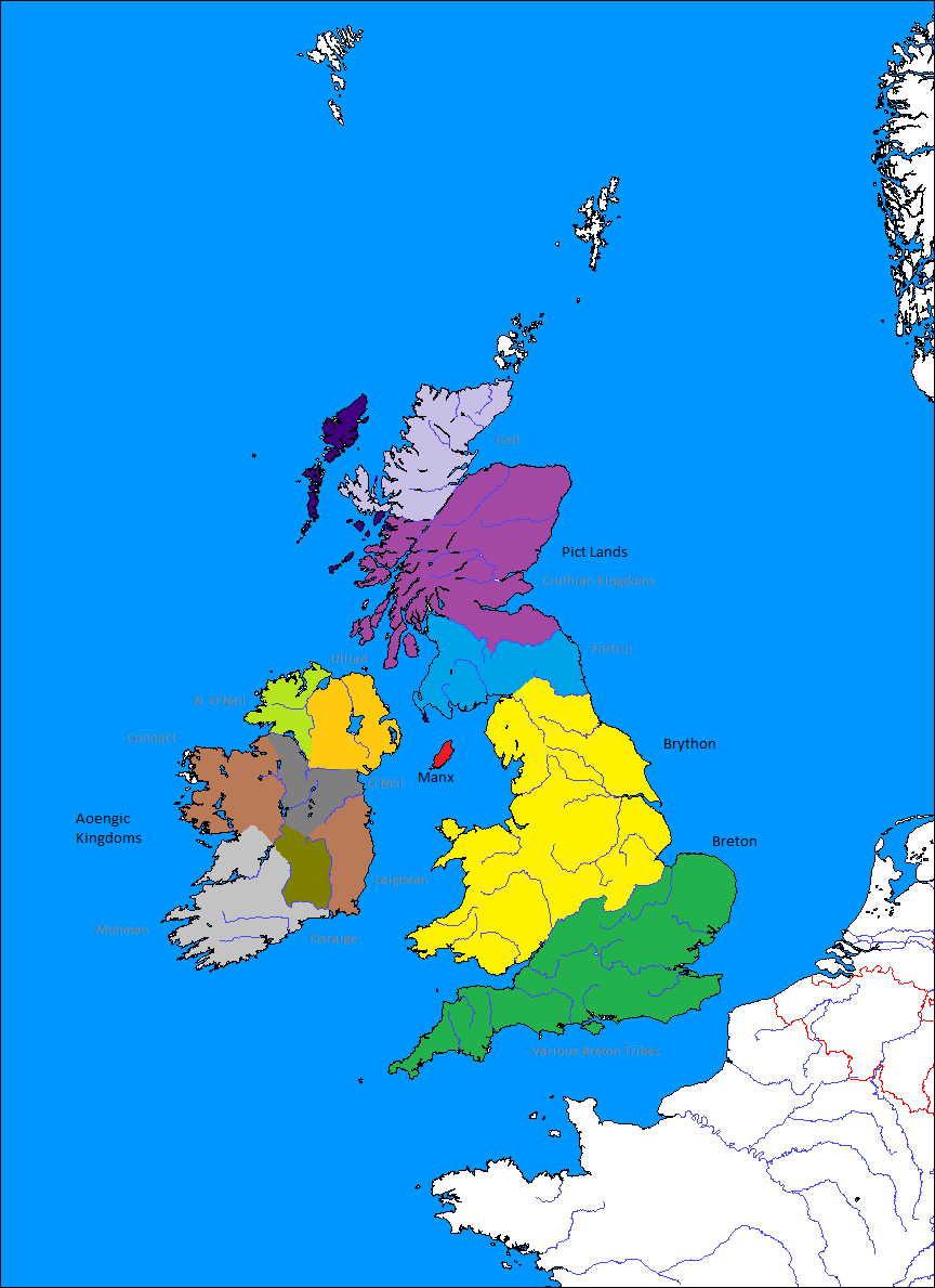 British Isles Subdivisions Fully Labled 209BC (Romae Delenda Est Map Game)