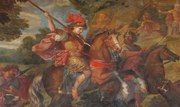 Painting of Cyrus the Great in battle