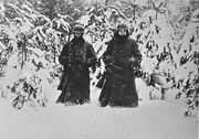 Soldiers on guard in December 1941 to the west of Moscow