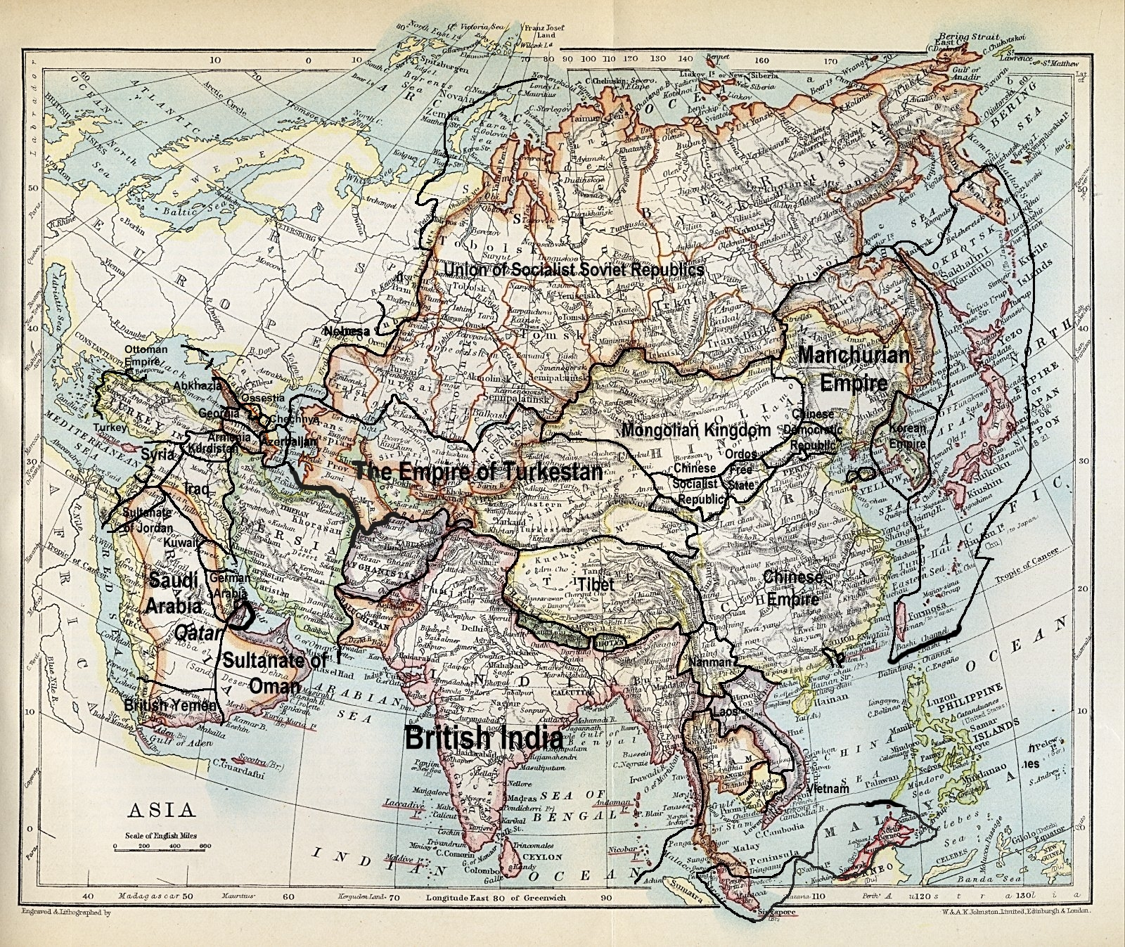 Image Map of Asia 1915jpg Alternative History – Global Map of Asia