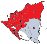 Nicaragua Departments Numbered