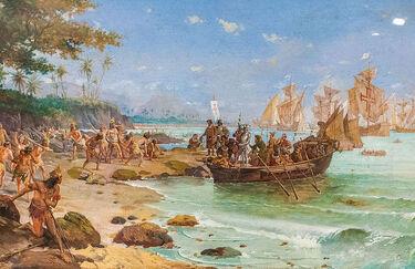 Desembarque de Pedro Álvares Cabral em Porto Seguro em 1500 by Oscar Pereira da Silva (1865–1939)