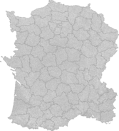 Blank map of France with communes and departments (Imperial Machines)