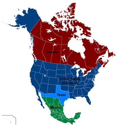 Map of North America (Texan Pride)