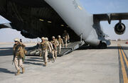 1st Battalion, 6th Marine Regiment disembark C17 surge Afghanistan 2009