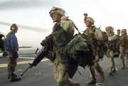 Operation Enduring Liberty U.S. soldiers aboard aircraft carrier 2001