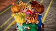 The Chipmunks and Chipettes huddled together