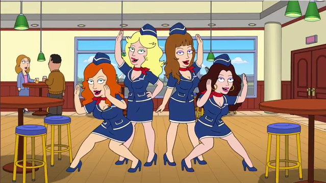 Image result for american dad introducing the naughty stewardesses