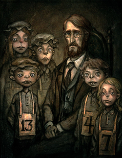 Portrait of Bumby with the orphans in Houndsditch