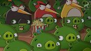 SLAPPY-GO-LUCKY PIGS AS BIRDS EATING POPCORN