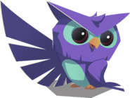 Purple and blue owl graphic