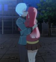 Tamotsu hugs Matome Stitched (Akiba Trip Ep 12)