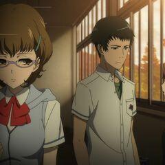 Yumi talks to Junta as Takako walks by.
