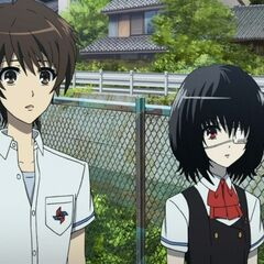 Mei and Kouichi outside class.