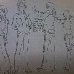 Concept art of Aya and Naoya. Note they're both wearing the same jacket, suggesting Aya is also a school athlete, or was at least intended to be at one time.