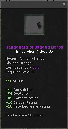 Handguard of jagged barbs