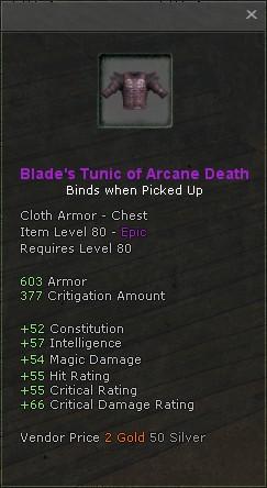 Blades tunic of arcane death