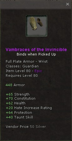 Vambraces of the invincible