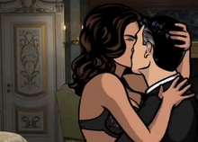 Lana and archer kissing